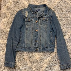 Distressed jean jacket. Size Med